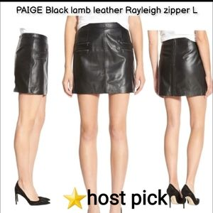 PAIGE Blk lamb leather Rayleigh zip mini skirt Lg